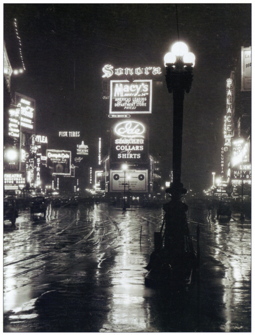 A rainy night in Times Square, 1923.