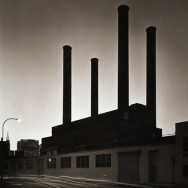 Tom Baril-Smoke Stacks (with Chrysler Building), LIC, NY, Silver print on original mount, 20 x 16 in. (508 x 406 mm) 1983