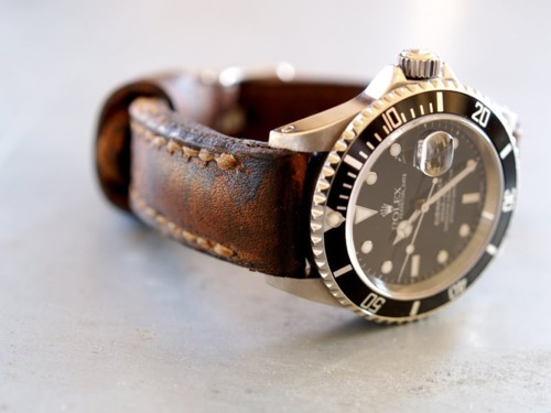 Rolex 'Submariner' mounted on an old leather bracelet