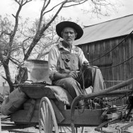 Marion Post Wolcott 17-Lee Betties, rural rehabilitation client, with sack of horse and mule feed on rear of his wagon, leaving general store at Woodville, Greene County, Georgia, 1939