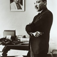 Dr. Martin Luther King in his office, with a portrait of Mohandas Karamchand Mahatma Gandhi - tumblr_m6i94vuRhN1qbsg6oo1_1280 copie