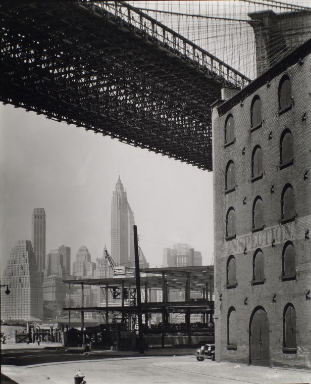 Berenice Abbott-Changing New York (1935-1938)-Brooklyn Bridge, Water and Dock Streets, looking southwest, Brooklyn, May 22, 1936