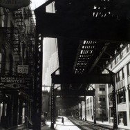 Berenice Abbott-Changing New York (1935-1938)--El- 2nd & 3rd Avenue lines, looking W. from Second & Pearl St., Manhattan, March 26, 1936
