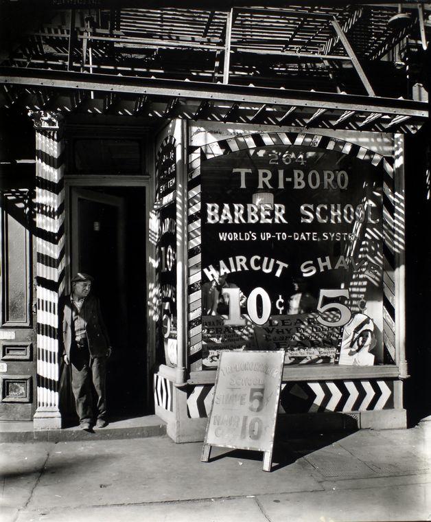 Berenice Abbott-Changing New York (1935-1938)-Tri-boro Barber School, 264 Bowery, Manhattan, October 24, 1935