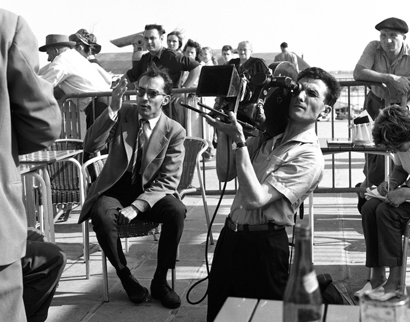Jean-luc Godard during the filming of 'À bout de souffle' ('Breathless') at Orly Airport, Paris 1959