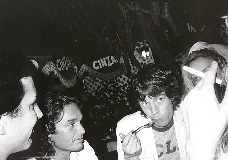 Bob Colacello - Fred Hughes, Patrice Calmettes, Mick Jagger, and Jerry Hall at Cafe Mustache, West Hollywood, ca. 1975 8 x 10 in. (20.3 x 25.4 cm)
