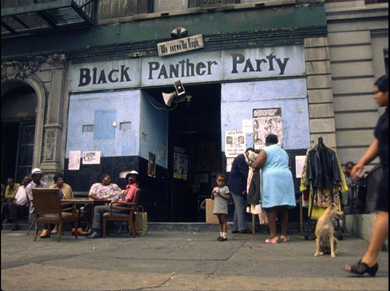 In front of a Black Panther Party social programs office