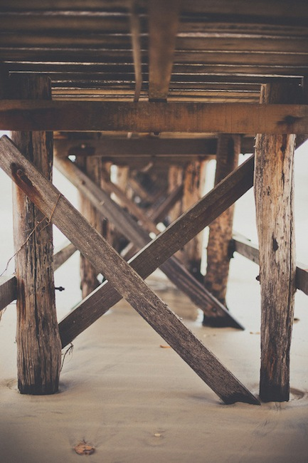 Under a pontoon