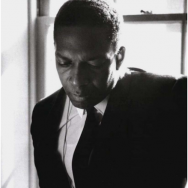 John Coltrane backstage at Stanford University in 1966, a few months before his death (photo by Jim Marshall)