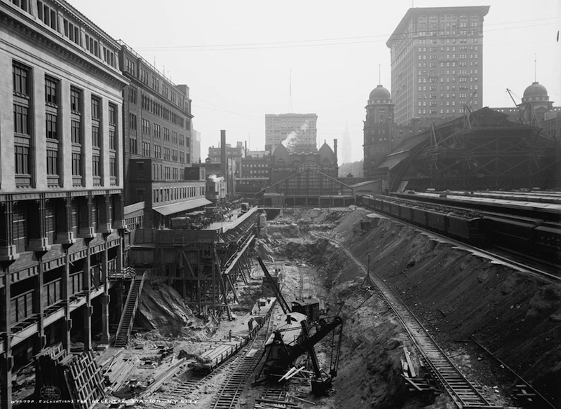 Excavation work at the site of Grand Central Terminal in New York City, in 1908