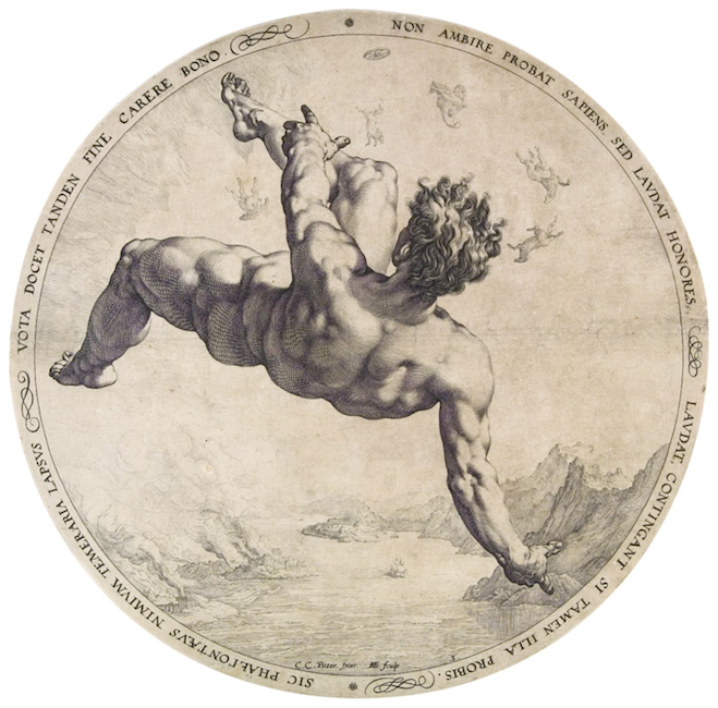 Hendrik Goltzius - Phaethon from the Four Disgracers series, 1588 - The National Gallery, Prague