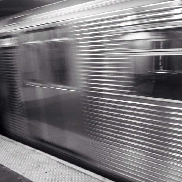 New York subway in motion