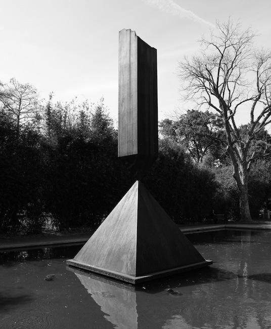 Barnett Newman - Broken Obelisk, in the reflecting pond outside the Rothko Chapel, Houston, Texas