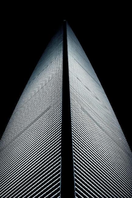 Illuminated tower, at night