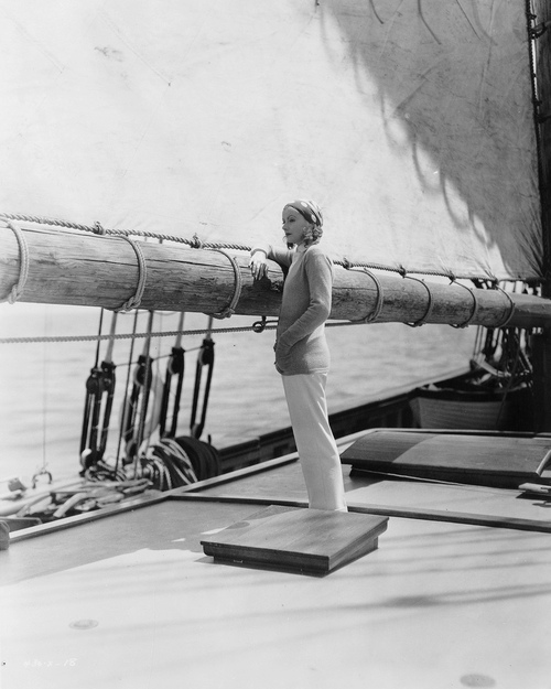 Greta Garbo on a sailboat
