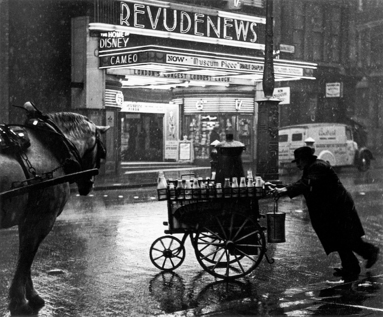Wolf Suschitzky - A milkman, charing cross road, London, 1937. From London street photography 1860-2010