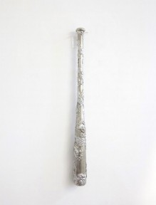 Dario Escobar - Untitled (bat), 2001 (Wood, tin and silver 33.062 x 2.938 in (83.98 x 7.46 cm)