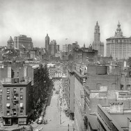 New York City skyline from Manhattan Bridge, NYC circa 1915 (Another entry from Detroit Publishing_s series of sooty cityscapes)