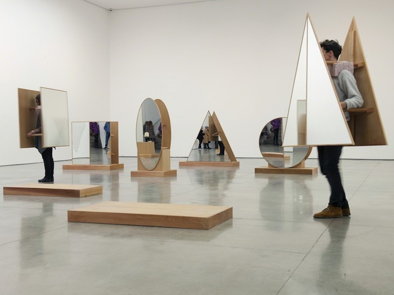 Josiah McElheny - Interactive Abstract Body, 2012 - wood, mirror, line drawing and performance